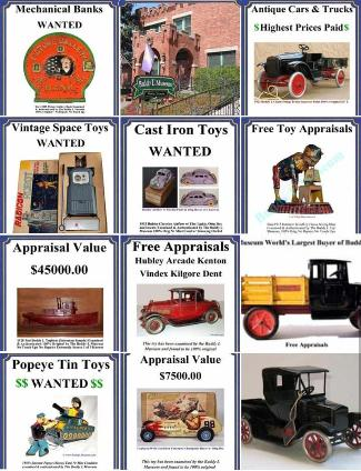 Buying vintage toys highest prices paid Buying toy collections including vintage german tin toys, antique buddy l trucks, vintage space toys, Japan tin toys. Buying antique toys any condition free toy appraisals