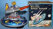 vintage japanese flying saucer japan tin robots, alps space toys price guide,  gang of give radicon robot, wind up linemar robot, 1950's space toys for sale, 1950's vintage tin toys for sale,  yonezawa space toys for sale,   tin radicon japan robot, space toy museum appraisals, rare vintage space toys for sale, japan space ships value guide, japan flying saucer photo gallery, japan tin toys wanted all conditions,  vintage space toys, toy appraisals antique buddy l cars trucks japan robots appraisal with current tin space toys updates, tin toys ebay